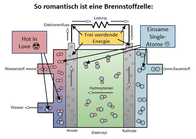 Darstellung der Funktion einer Brennstoffzelle