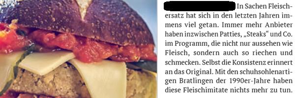 """Gleichlautender Textauszug aus der Ausgabe von 2019. Beginnend mit """"In Sachen Fleischersatz..."""""""