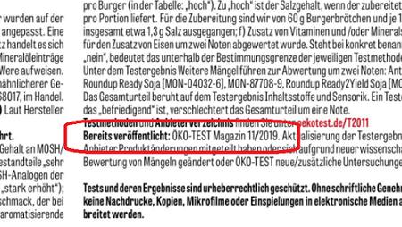Screenshot des Kleingedruckten, in dem der Verweis auf die wiederholte Veröffentlichung rot markiert ist