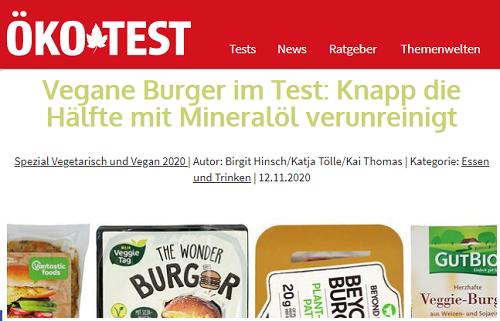 """Artikelüberschrift von Ökotest. Zu sehen ist die Überschrift """"Vegane Burger im Test: Knapp die Hälfte mit Mineralöl verunreinigt""""."""